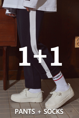[1+1][크럼프]Crump line track pants + Crump lettering socks (CP0030-1)