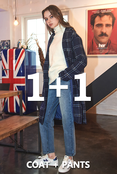 [1+1][크럼프]Crump over-fit classic check coat +Crump x thisrespect washed denim