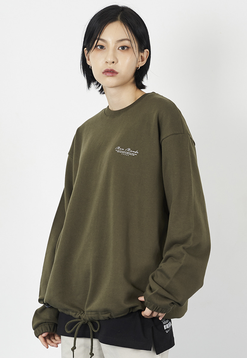 [크럼프] Crump drawstring cursive crewneck (CT0225-1)