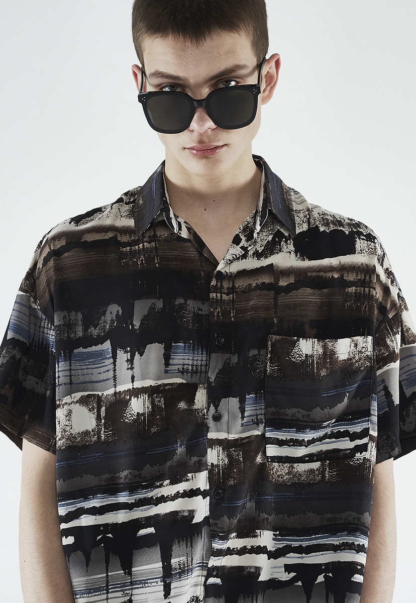 [크럼프] Crump mix pattern half shirt (CS0036)