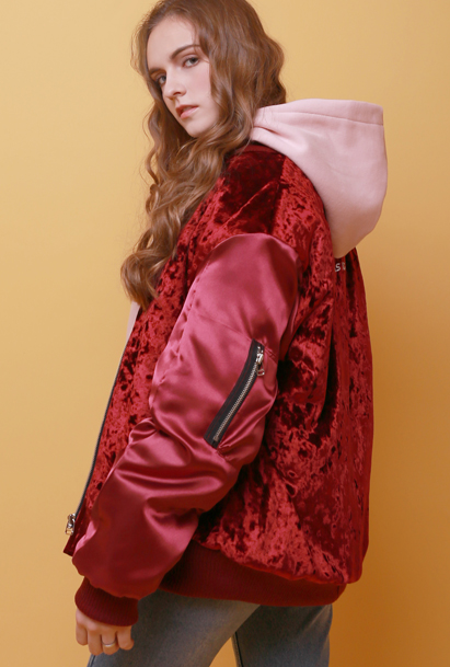 Crump velvet MA-1 jacket (CO0002-1) burgundy