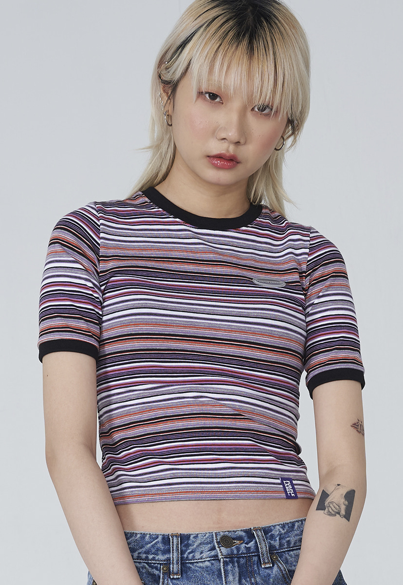[퍼플라벨] Purple label stripe crop tee (PT0013)