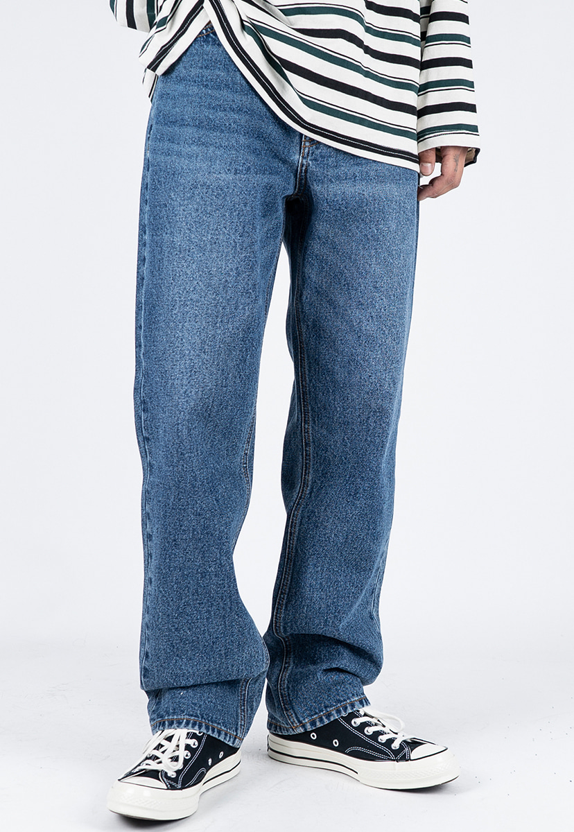 [디스리스펙] semi wide fit washed denim deep blue (TRP0008)