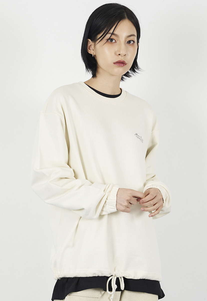 [크럼프] Crump drawstring cursive crewneck (CT0225-2)